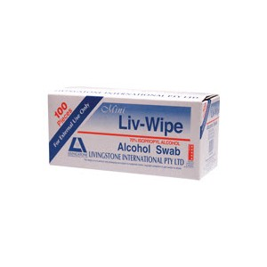 Mini Liv-Wipe Alcohol Wipes PK/100